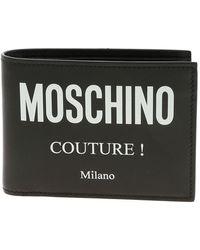 Moschino Men's Genuine Leather Wallet Credit Card Bifold - Black