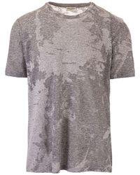 Saint Laurent - T-shirt logo devore grigia - Lyst