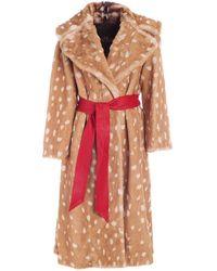 Marc Jacobs Belt Faux Fur Coat In Beige - Multicolour