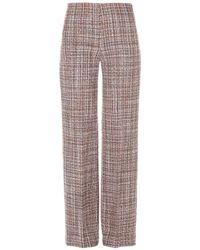 Erika Cavallini Semi Couture Pantaloni in tweed di misto lana - Marrone