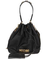 Moschino Logo Nylon Bucket Bag - Black