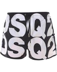 DSquared² All-over Logo Swim Shorts - Black