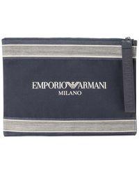 Emporio Armani Blue Branded Canvas Clutch