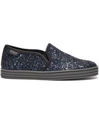 Hogan Rebel Glitter Panel Sneakers in Blue - Lyst