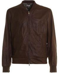 Brunello Cucinelli Vintage Leather Bomber Jacket - Brown