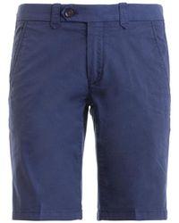 Corneliani Blue Cotton Twill Chino Style Short Pants