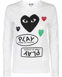 COMME DES GARÇONS PLAY - T-shirt in jersey con applicazioni Heart - Lyst