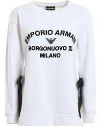 Emporio Armani Ribbon Velvet Logo Sweatshirt - White
