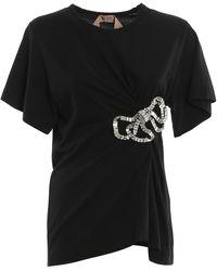 N°21 - T-shirt con fiocco di cristallo - Lyst
