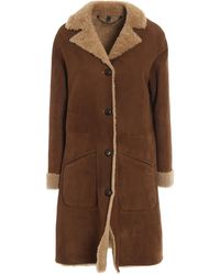 Belstaff Shearling Coat With Woven Leather Buttons - Brown