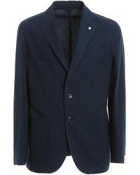 L.B.M. 1911 Cotton Linen Blend Blazer - Blue