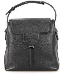 Tod's Joy Mini Black Hammered Leather Bucket Bag