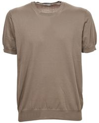 Paolo Pecora Knitted T-shirt In Beige Color - Natural