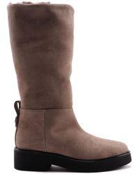 Furla Greta Suede Boots - Natural