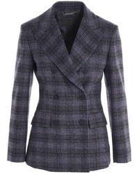 Alberta Ferretti - Prince Of Wales Jacket In Grey - Lyst