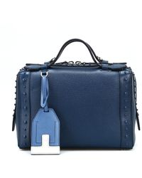 Tod's Petrol Blue Leather Bowling Bag