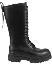 RED Valentino Valentino Garavani Laced-up High Combat Boots - Black