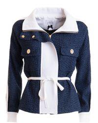 Edward Achour Paris Contrasting Detail Belted Jacket - Blue