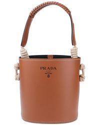 Prada Cord Detailed Leather Bucket Bag - Brown