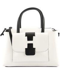 Hogan H Logo Leather Bowling Bag - White