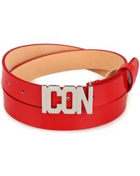 DSquared² Patent Red Icon Belt