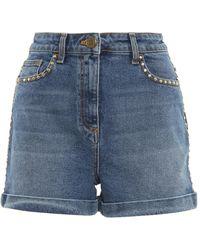 Elisabetta Franchi Studded Denim Shorts - Blue