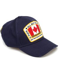 DSquared² Flag Patch Cotton Baseball Cap - Blue