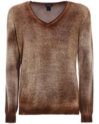 Avant Toi Shaded Cashmere Reversible Sweater - Brown