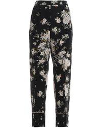 N°21 Pyjama Style Floral Silk Crop Trousers - Black