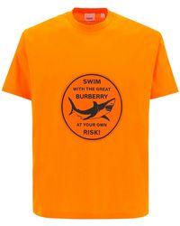 Burberry T-shirt Shark Graphic - Arancione
