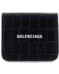 Balenciaga Croco Leather Wallet - Black