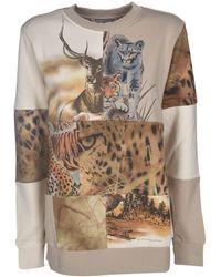 Stella McCartney Animal Print Sweatshirt In Beige - Natural