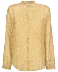 Massimo Alba Silk Blend Shirt In Mustard Colour - Yellow