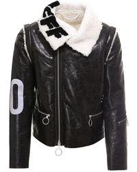Off-White c/o Virgil Abloh Maxi Print Shearling Coat - Black