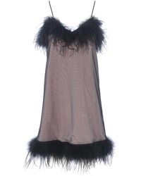McQ Cady And Tulle Dress With Feather Trimming - Black