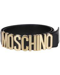 Moschino Gold-tone Logo Buckle Leather Belt - Black