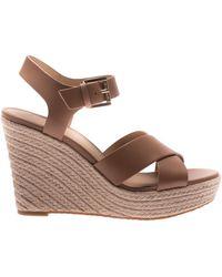 Michael Kors Kady Espadrilles Leather Sandals - Brown