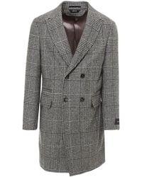 Z Zegna Prince Of Wales Wool Coat - Brown