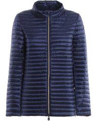 Save The Duck Shiny Nylon Eco-friendly Padded Short Coat - Blue