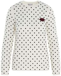 RED Valentino Pullover patch logo a pois bianco