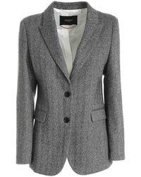 Seventy Herringbone Jacket In Black And Grey