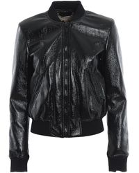 Michael Kors Black Coated Faux Leather Bomber Jacket