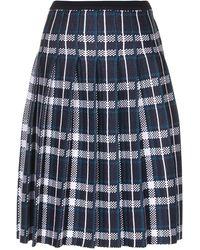 Charlott Tartan Pleated Skirt - Blue