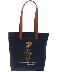 Polo Ralph Lauren Polo Bear Embroidery Tote Bag In Blue
