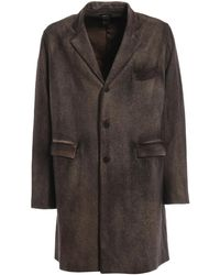 Avant Toi Felted Overdyed Cashmere And Wool Coat - Brown