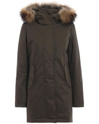 Woolrich Eskimo Tiffany Padded Parka In Olive Green