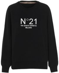 N°21 - Felpa stampa logo a contrasto nera - Lyst