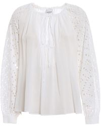 Dondup Broderie Anglaise And Cotton Gauze Blouse - White