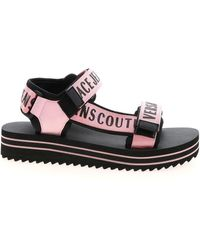 Versace Jeans Couture Branded Velcro Sandals In Black