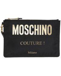 Moschino Clutch con logo - Nero